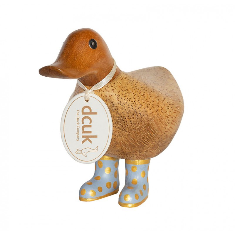 Dcuk Ducky with Lilac and Gold Spotty Welly Boots 12cm
