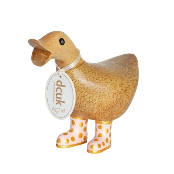 Dcuk Ducky with Pink and Gold Spotty Welly Boots 12cm