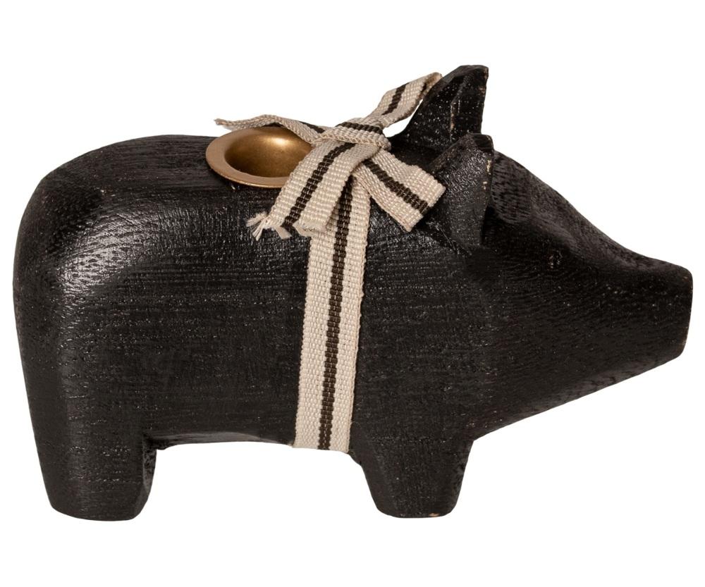 Maileg Black Wooden Pig Candle Holder