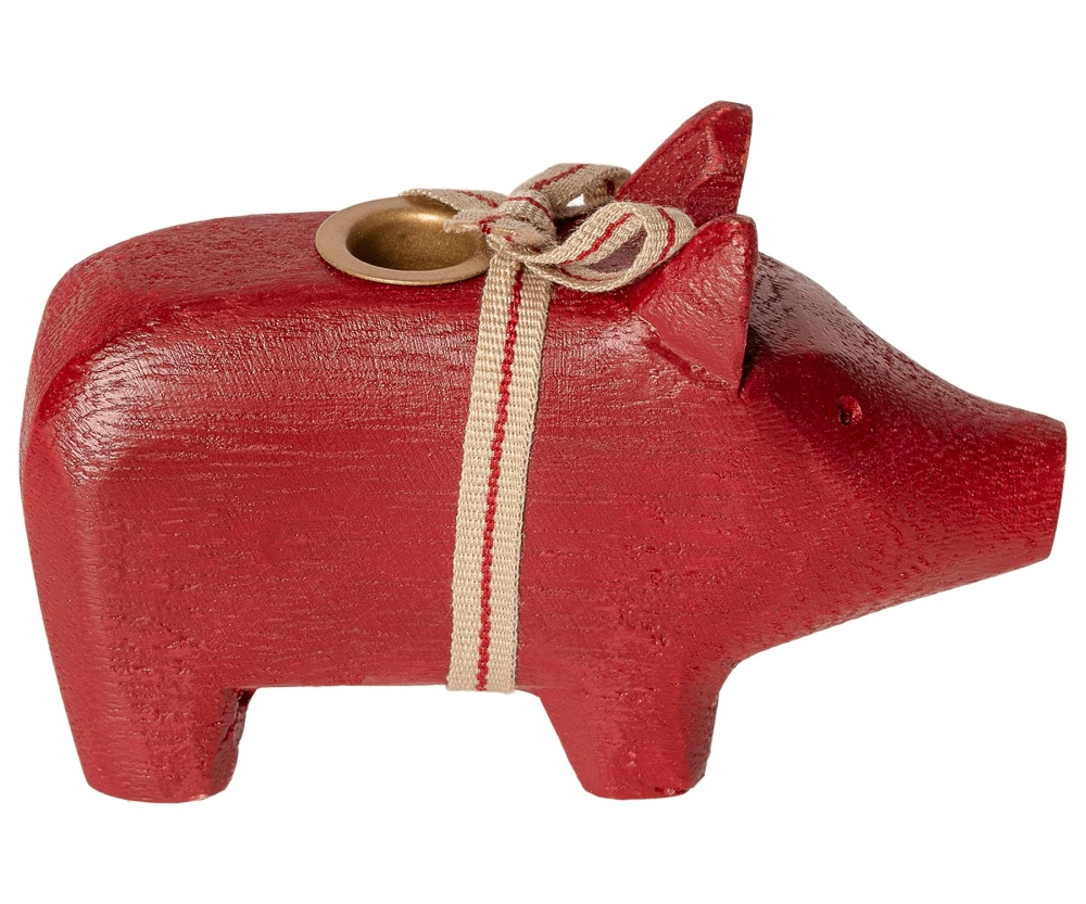 Maileg Red Wooden Pig Candle Holder