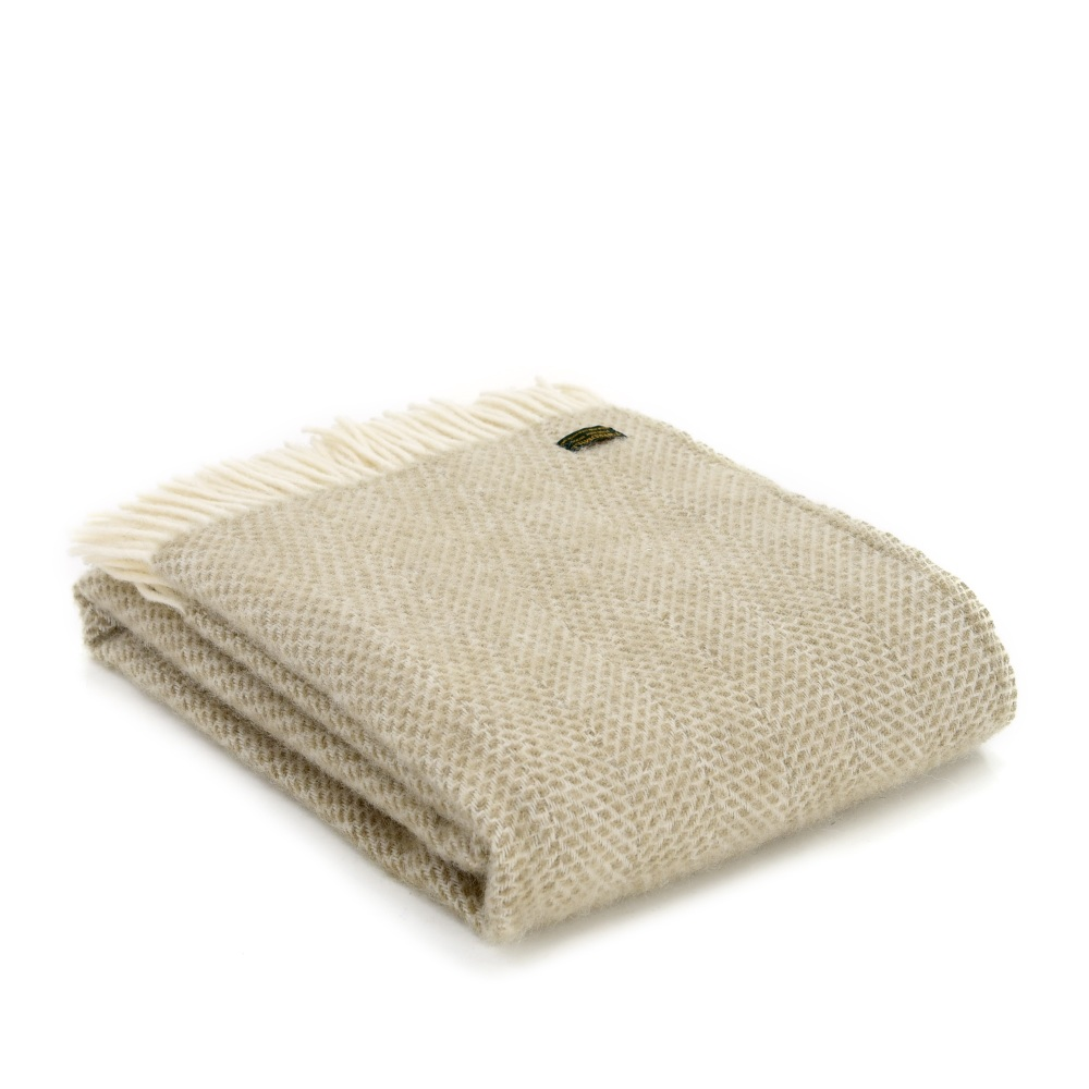 Tweedmill Beehive Pure New Wool Throw - Oatmeal
