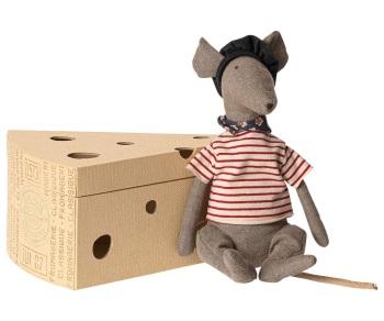 Maileg Rat in Cheese Box - Grey