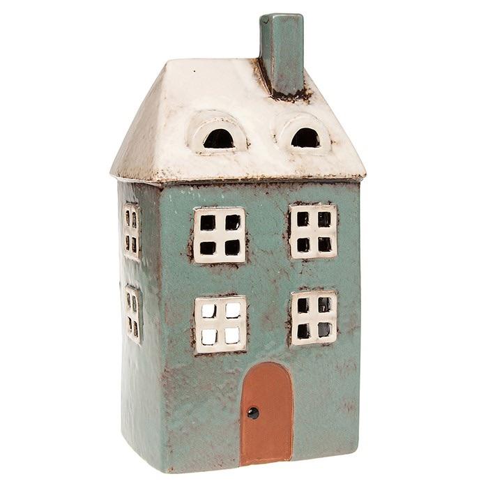 Glazed Pottery Tealight House - Tall