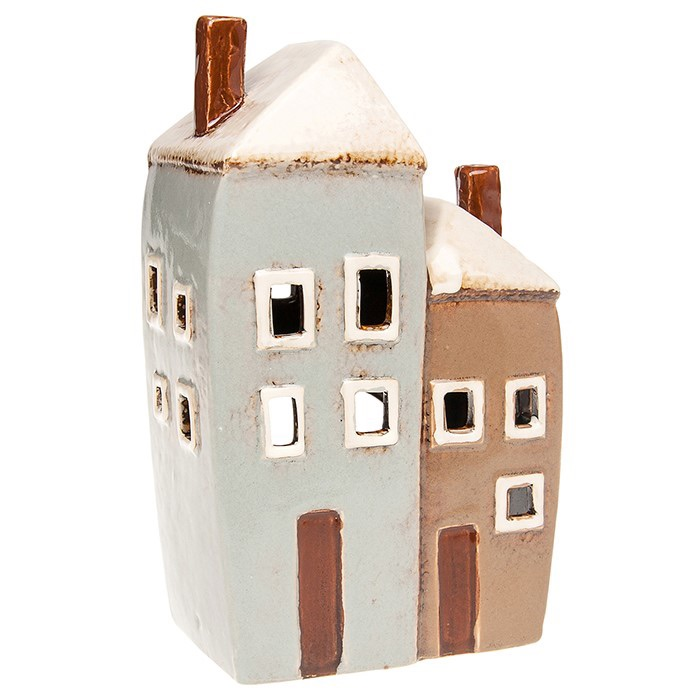 Glazed Pottery Tealight House - Double