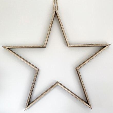 Natural Wooden Frame Star - Large 70cm