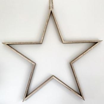 Natural Wooden Frame Star - Medium 50cm