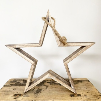 Natural Wooden Frame Star - Small 30cm