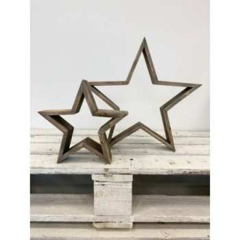 Set of Two Natural Wooden Stars
