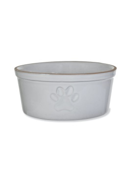 Stoneware Paw Print Pet Bowl - Large