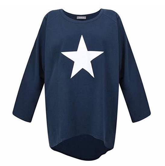 Chalk UK Robyn Top - Navy with White Star