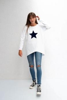 Chalk UK Robyn Top - White - Navy Star