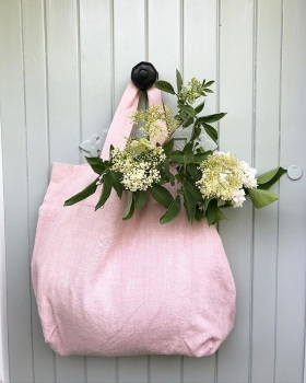 Chalk UK Oversized Natural Fabric Shopper - Pink