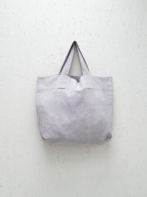 Chalk UK Oversized Natural Fabric Shopper - Light Grey