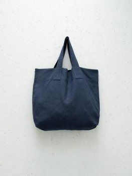 Chalk UK Oversized Natural Fabric Shopper - Navy Blue