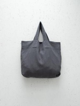 Chalk UK Oversized Natural Fabric Shopper - Charcoal Grey