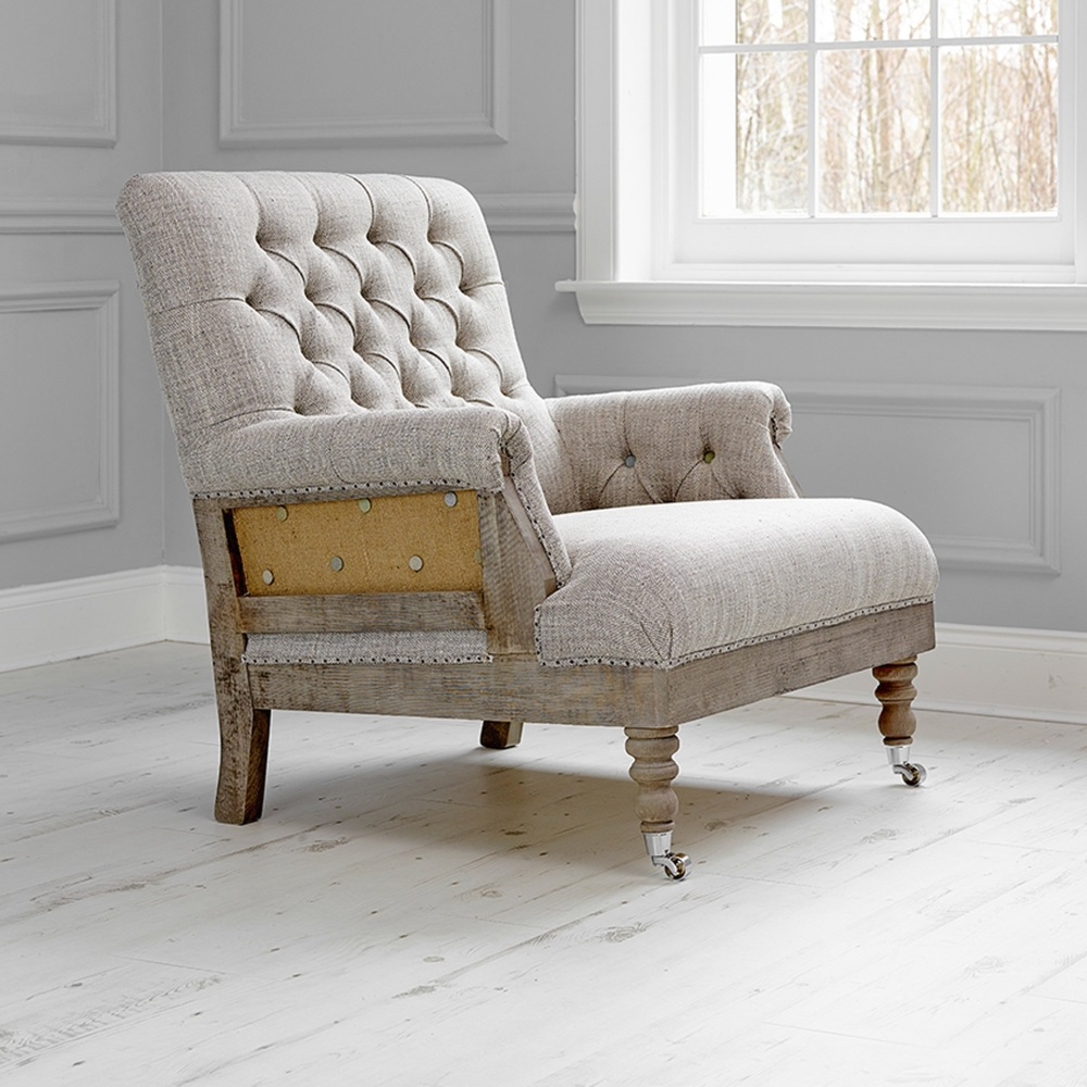 Vintage Style, Linen and Jute De-constructed Armchair