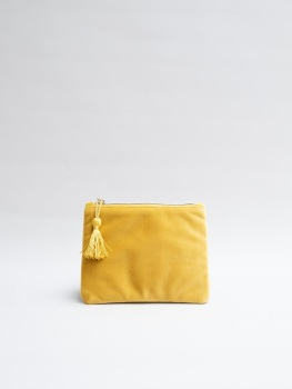 Chalk UK Annie Velvet Purse - Mustard