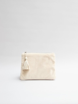 Chalk UK Annie Velvet Purse - Oatmeal