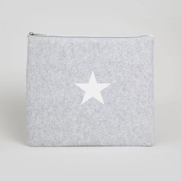 Chalk UK Wool Star Bag Large  - Silver Grey