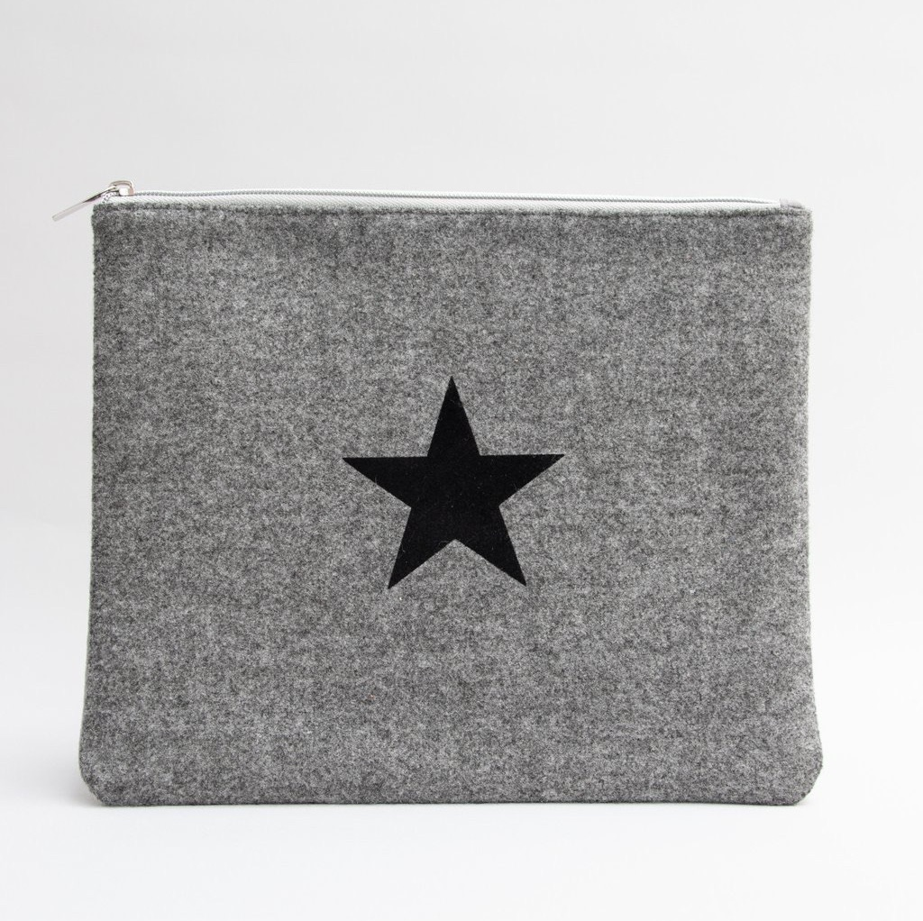 Chalk UK Wool Star Bag Large  - Charcoal Grey