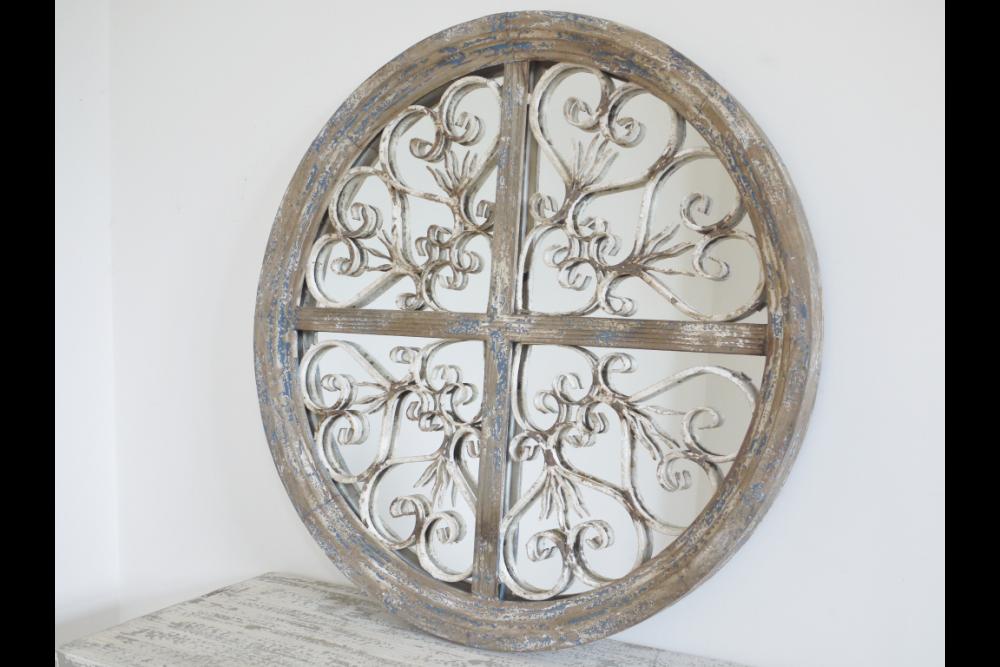 French Inspired Round Ornate Mirror