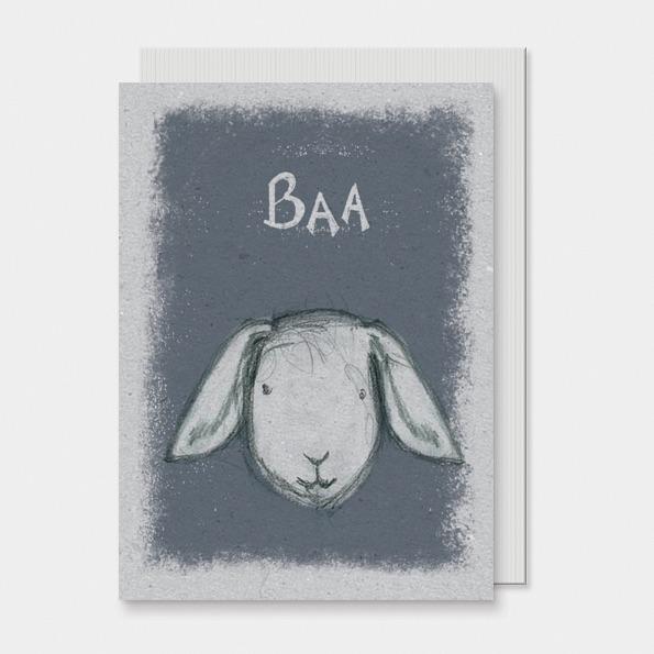 East of India Animal Head Card - Baa!