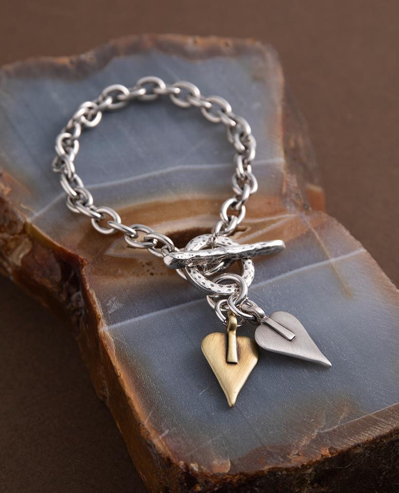 Danon Double Signature Heart Link Bracelet