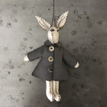 East of India White Felt Rabbit - Emily