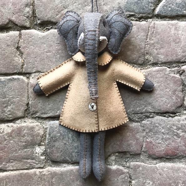 East of India Felt Elephant - Ellie