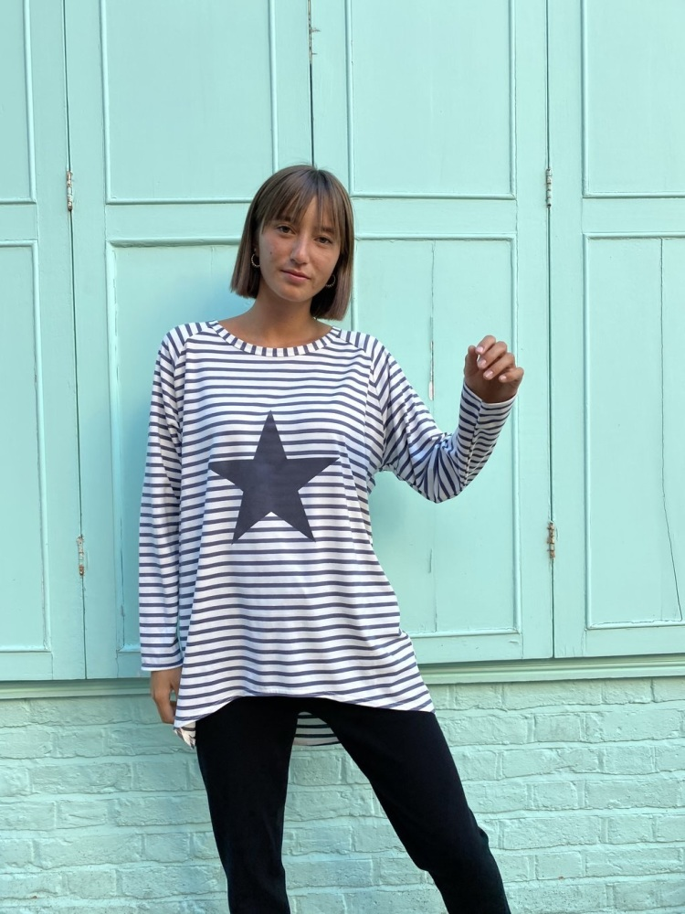 Chalk UK Robyn Top - Charcoal Stripe with Star
