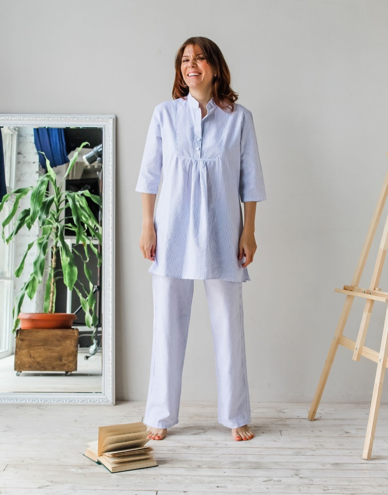 100% Cotton Blue Striped Pyjama Set  - 12/14
