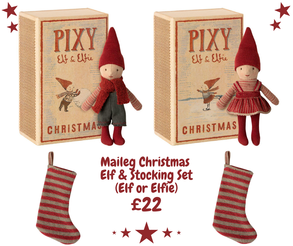 Maileg Christmas Elf in Matchbox and Stocking Set