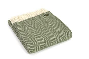 Tweedmill Fishbone Pure New Wool Knee Rug Throw - Olive