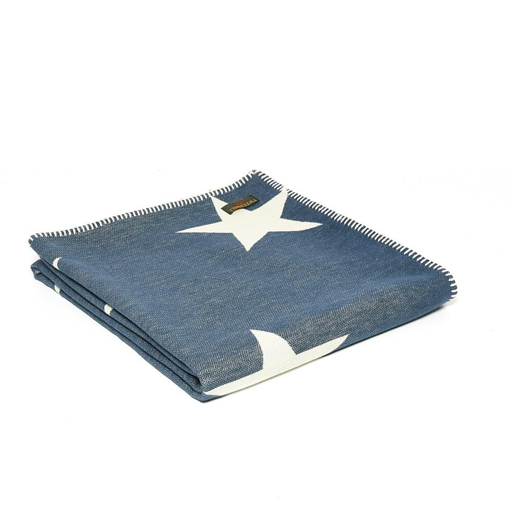 Tweedmill Reversible Star Throw - Navy/Cream