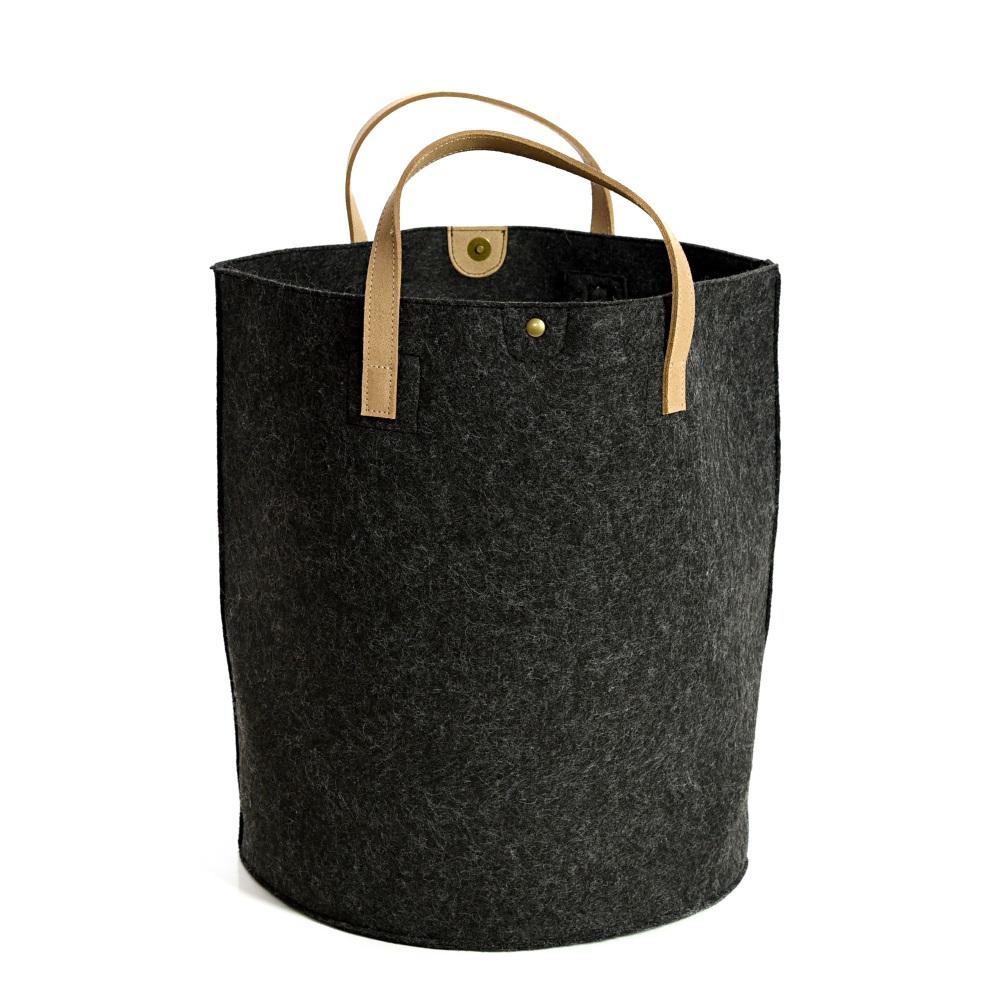 Tweedmill Felt Storage Basket - Charcoal
