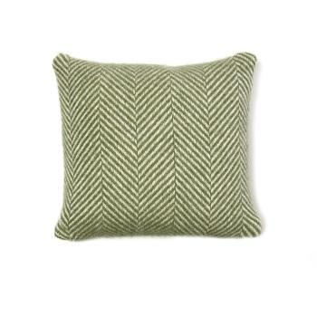 Tweedmill Fishbone Wool Cushion - Olive