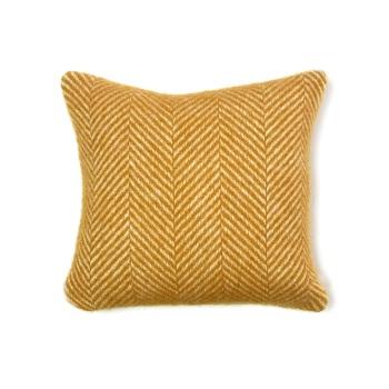 Tweedmill Fishbone Wool Cushion - English Mustard