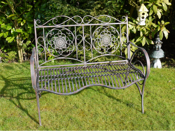 Lourdes Ornate Metal Garden Bench - SPECIAL PRE-ORDER PRICE