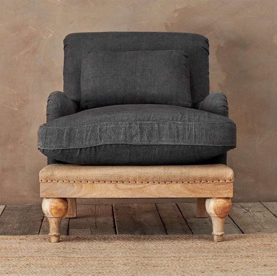 The Claude - Vintage Inspired, De-constructed Charcoal Linen Armchair AVAIL