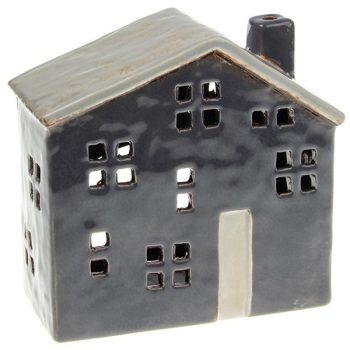 Glazed Pottery Tealight House - Blue