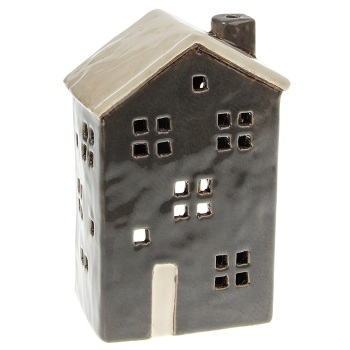 Glazed Pottery Tall Tealight House - Dark Grey