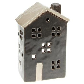 Glazed Pottery Tall Tealight House - Dark Grey