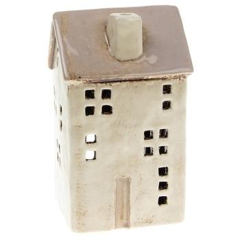 Glazed Pottery Tall Tealight House - Cream