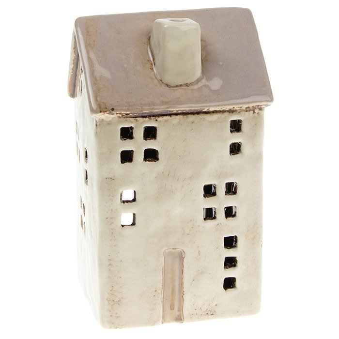 Glazed Pottery Tall Tealight House - Cream