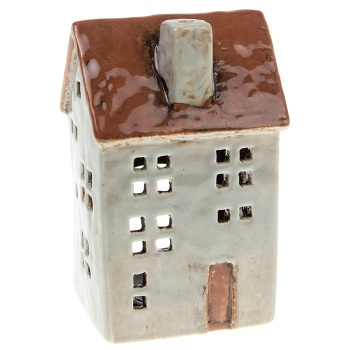 Glazed Pottery Tall Tealight House - Pale Grey