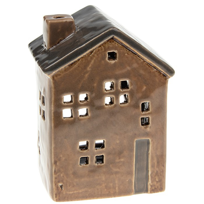 Glazed Pottery Tall Tealight House - Brown