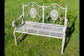 Beatrice Antique Grey Metal Garden Bench