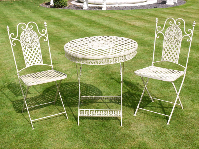 Ornate Metal Garden Bistro Set - Off White