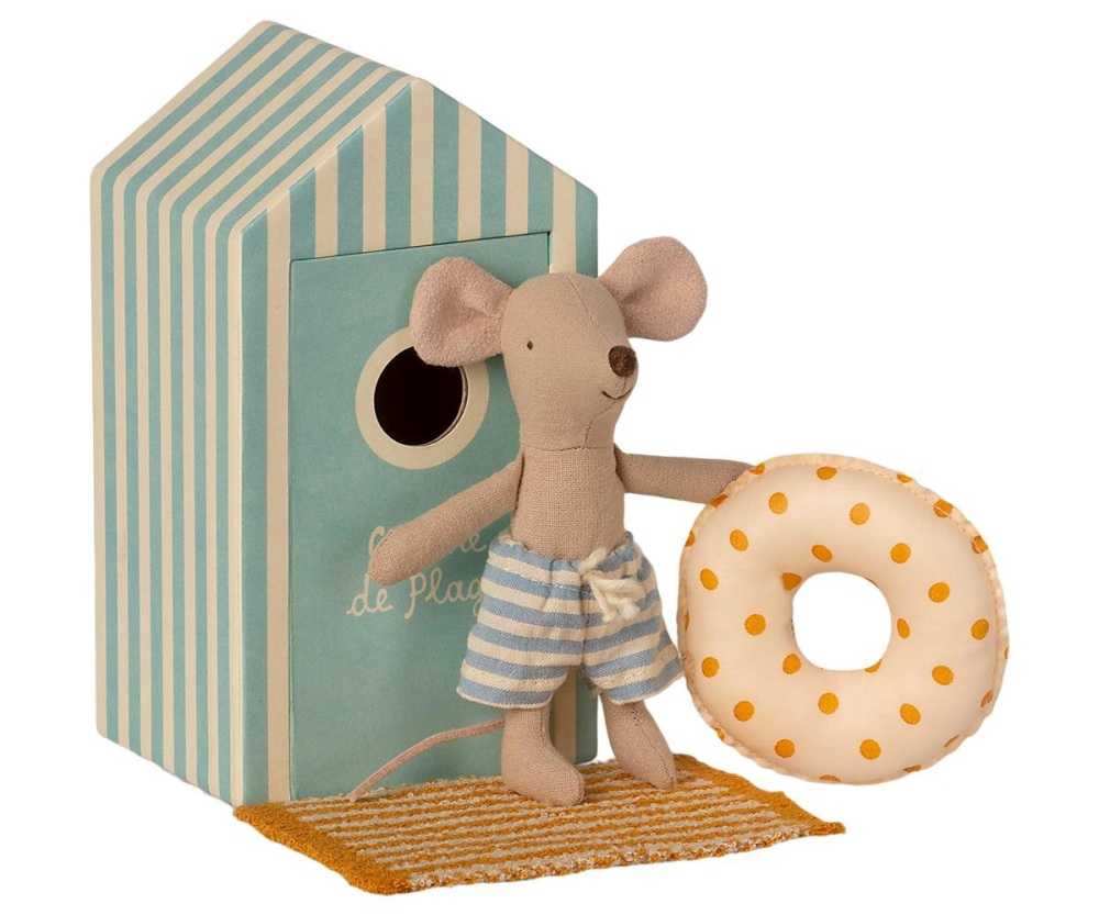 Maileg Little Brother Beach Mouse in Cabin De Plage