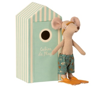 Maileg Big Brother Beach Mouse in Cabin De Plage